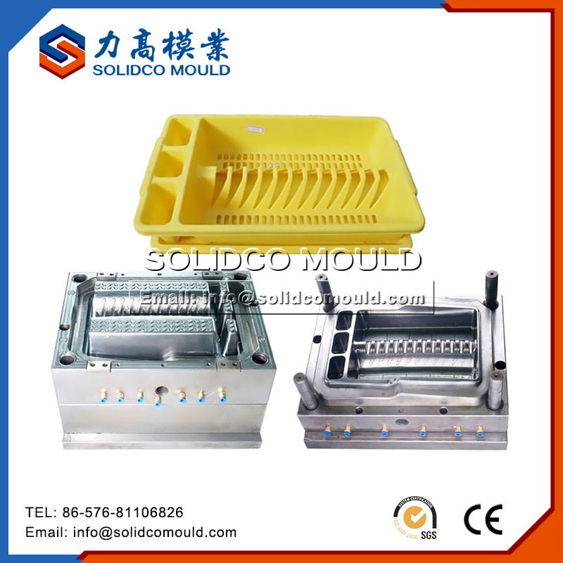 Plastic Yellow Dish Rack Mould