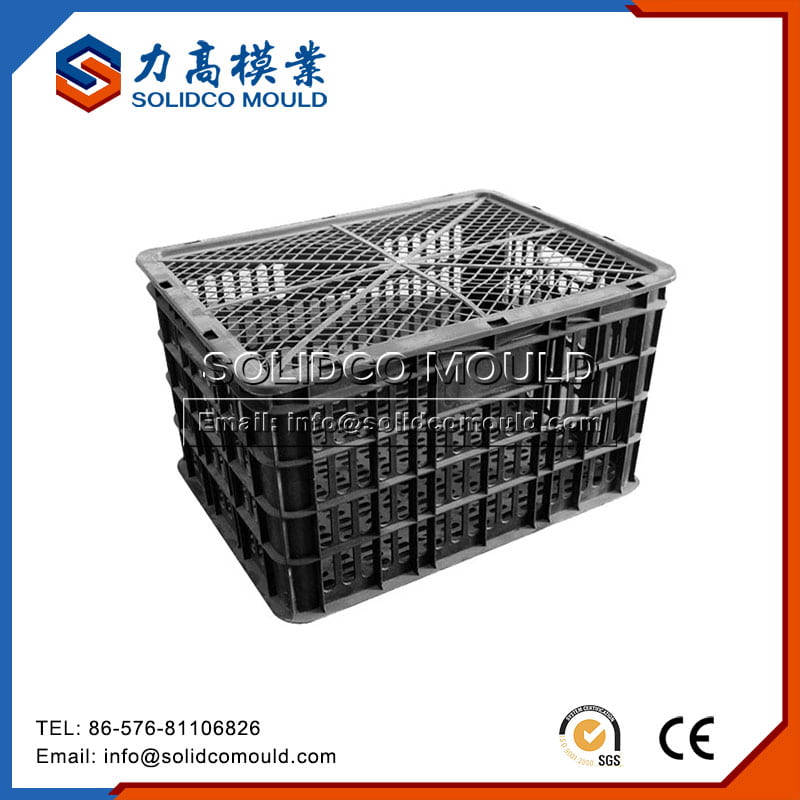 Grey Plastic Crate With Lid Mould
