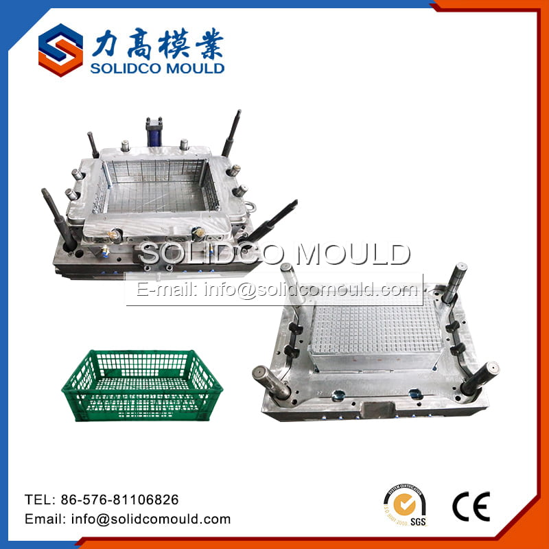 Green Plastic Injection Crate Mould Maker